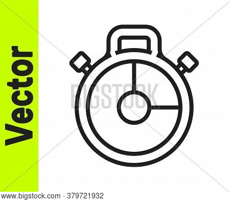 Black Line Stopwatch Icon Isolated On White Background. Time Timer Sign. Chronometer Sign. Vector Il