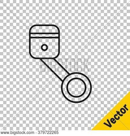 Black Line Engine Piston Icon Isolated On Transparent Background. Car Engine Piston Sign. Vector Ill