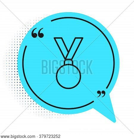 Black Line Medal Icon Isolated On White Background. Winner Achievement Sign. Award Medal. Blue Speec