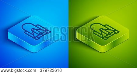 Isometric Line Rocket Launch From The Spaceport Icon Isolated On Blue And Green Background. Launch R