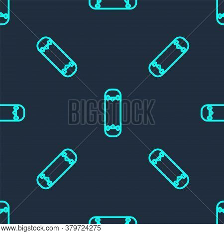Green Line Skateboard Trick Icon Isolated Seamless Pattern On Blue Background. Extreme Sport. Sport
