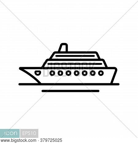 Cruise Liner Flat Vector Icon. Graph Symbol For Travel And Tourism Web Site And Apps Design, Logo, A