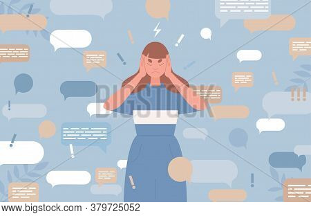 Sad Young Woman Covers Ears With Hands To Stop Information Noise Vector Flat Illustration With Speec