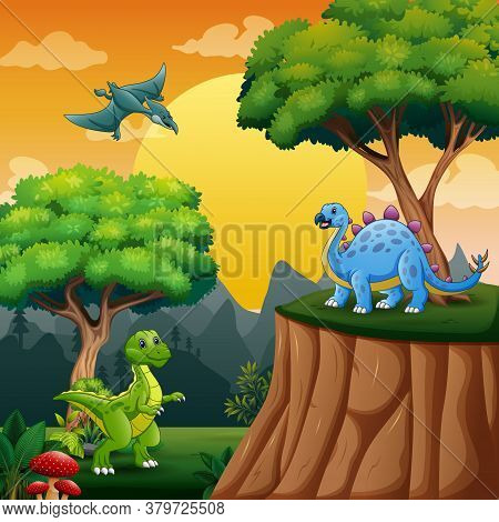 Cartoon Illustration Of Dinosaurs In The Jungle