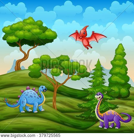 Illustration Of Dinosaurs Living In The Green Landscape