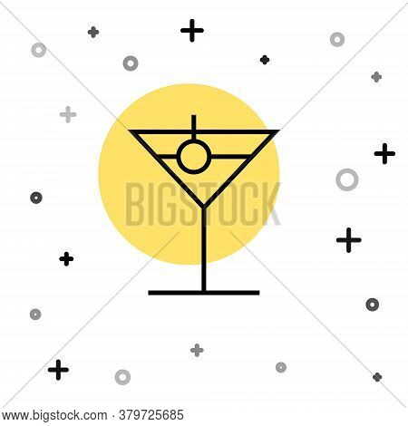 Black Line Martini Glass Icon Isolated On White Background. Cocktail Icon. Wine Glass Icon. Random D