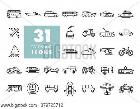 Transportation Vector Flat Icon Set. Graph Symbol For Travel And Tourism Web Site And Apps Design, L