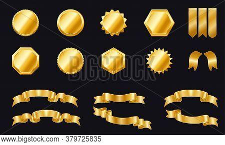 Set Of Golden Ribbons And Badges For Your Design. Golden Ribbon Banners. Golden Labels