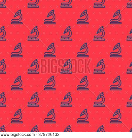 Blue Line Microscope Icon Isolated Seamless Pattern On Red Background. Chemistry, Pharmaceutical Ins