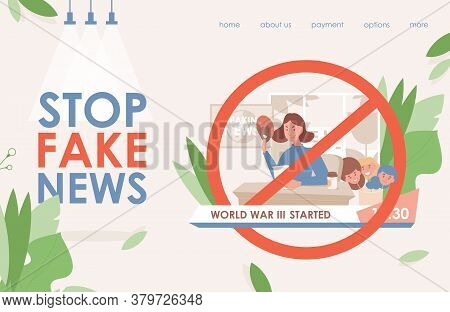 Stop Fake News In Tv And Internet Vector Flat Landing Page Template. Angry Young Woman Changing Mask