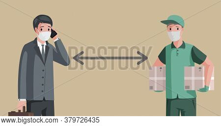 Businessman And Delivery Man Wearing Medical Masks And Maintain Social Distancing To Prevent Coronav