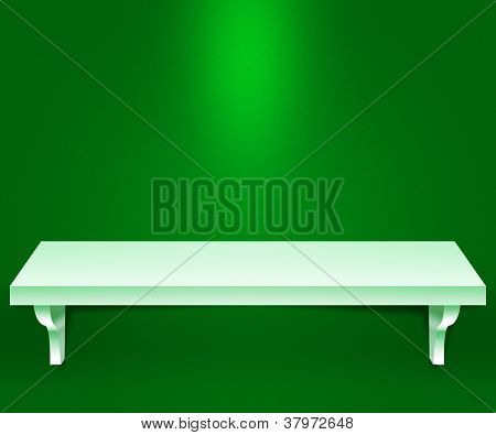 Empty Shelf Green Background