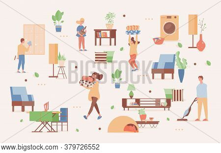 Happy Family Spending Weekend Time Together At Home Vector Flat Illustration. Smiling Men And Women