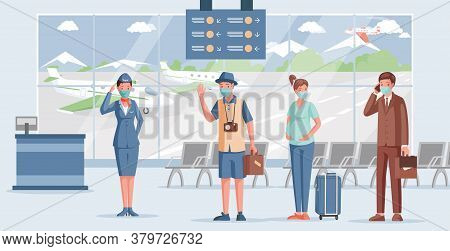 People In Airport Vector Flat Illustration. Airport Worker In Face Mask And Uniform Welcoming Passen