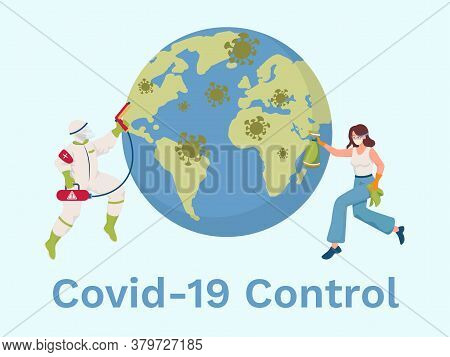 Covid-19 Control Vector Flat Banner Design With Text Space. People In Protective Suits And Medical M