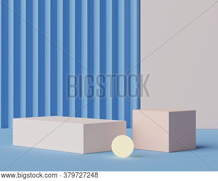 3d Geometric Forms. Blank Podium Display In Pastel White Blue Color. Minimalist Pedestal Or Showcase