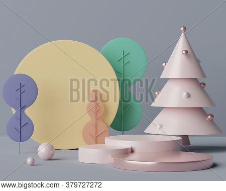 3d Geometric Forms. Blank Podium Display In Pastel Color. Minimalist Pedestal Or Showcase Scene For