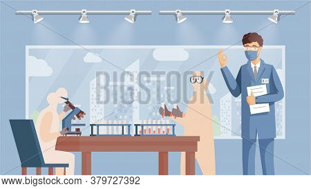 Medical Researchers, Developing Vaccine Against Coronavirus Vector Flat Illustration. Scientists, Do