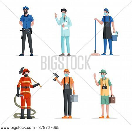 Group Of People Of Different Professions. Labor Day Vector Flat Concept. Police Officer, Doctor Or M