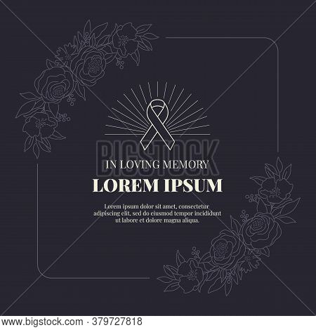 Funeral Card Banner With Ribbon Sign And Text In Abstract Line Floral Rose Frame On Black Background