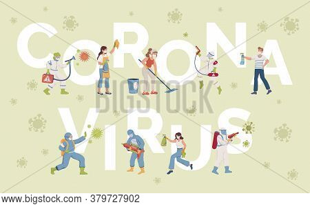 Coronavirus Word Vector Banner Template. People In Protective Suits And Medical Masks Disinfecting S