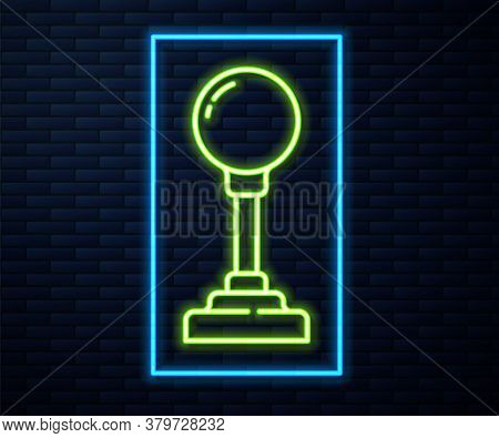 Glowing Neon Line Joystick For Arcade Machine Icon Isolated On Brick Wall Background. Joystick Gamep