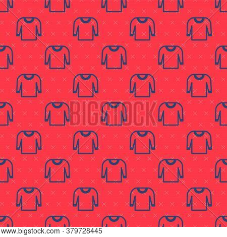 Blue Line Sweater Icon Isolated Seamless Pattern On Red Background. Pullover Icon. Vector Illustrati