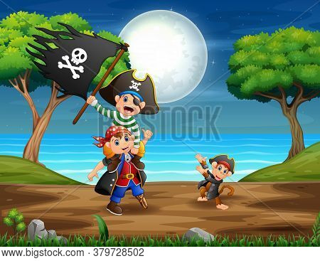 Cartoon Illustration The Pirates In The Jungle