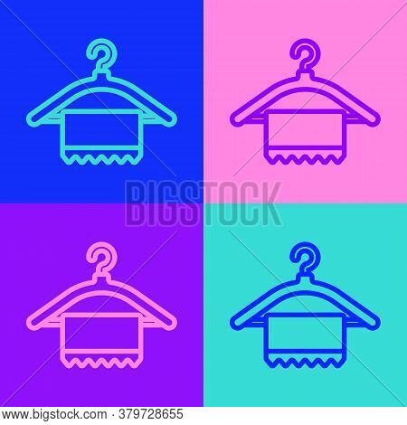 Pop Art Line Hanger Wardrobe Icon Isolated On Color Background. Clean Towel Sign. Cloakroom Icon. Cl