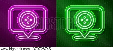 Glowing Neon Line Location Tailor Shop Icon Isolated On Purple And Green Background. Vector Illustra