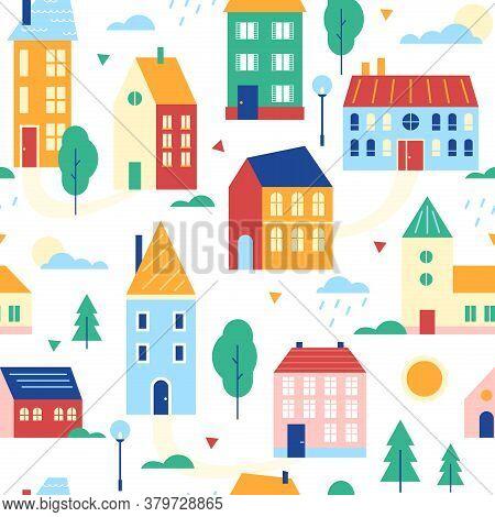 Houses Seamless Pattern Vector Illustration. Cartoon Flat Cute Urban Suburban Traditional Cityscape