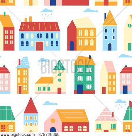Houses Seamless Pattern Vector Illustration. Cartoon Flat Cute Urban Cityscape With Colorful Buildin