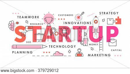 Startup Word Abstract Thin Line Vector Illustration. Flat Horizontal Infographic Innovation Concept