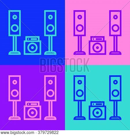 Pop Art Line Home Stereo With Two Speaker S Icon Isolated On Color Background. Music System. Vector