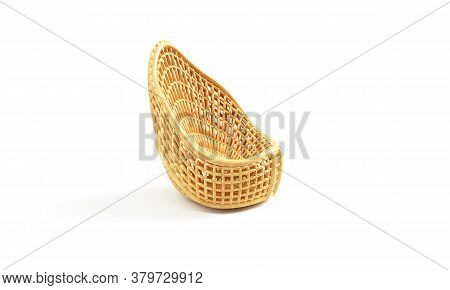 3d Render Of An Emplty Basket Container, Wooden, Object, Design, Circle, Background, Filing,