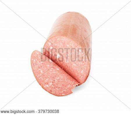 Italian Sausage. Tasty Dried Sausage, Close-up, Isolated On White Background.