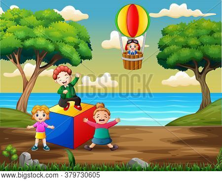 Cartoon Of Happy Kids Playing On The Playground