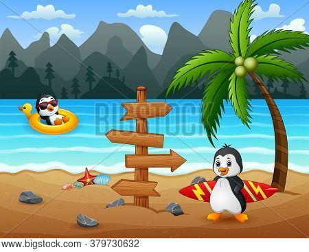 Illustration Of Happy Penguins On Tropical Beach