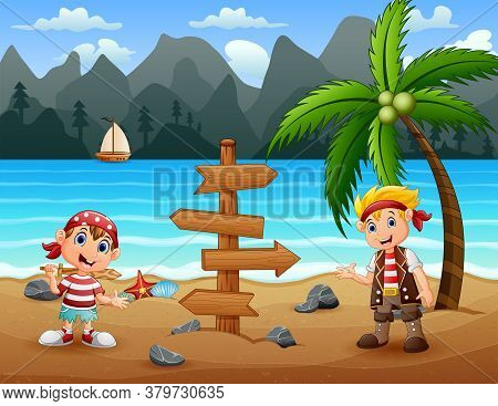 Illustration Of Two Pirate Kids In The Beach