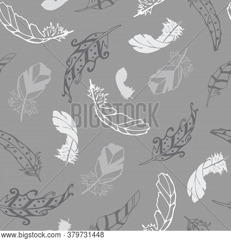 Vector Gray With Feathers From The Feather Flight Collection Seamless Pattern Background. Features V