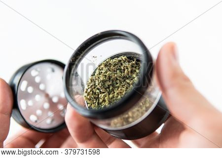 The Sugar Pot Leaves On Buds. Cannabis Buds In Grinder. Cbd Thc Herb. White Background. Mans Hands M