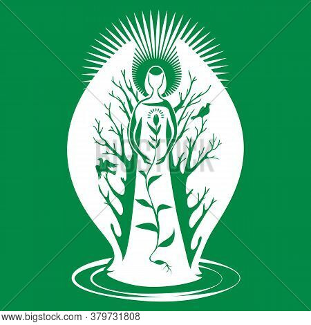 An Angel, A Guardian Of Nature With Wings, Guards The Germinated Grain. Silhouette Isolated On Green