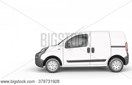 white minivan on the white background. 3d render. shipping and logistics concept.
