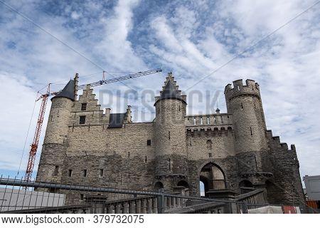 Antwerp, Belgium, July 19, 2020, The Castle Het Steen The Oldest Preserved Building In Antwerp