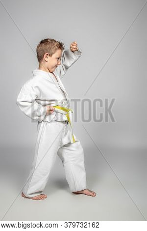 7 year old boy practices jujitsu. Sport and martial arts concept.