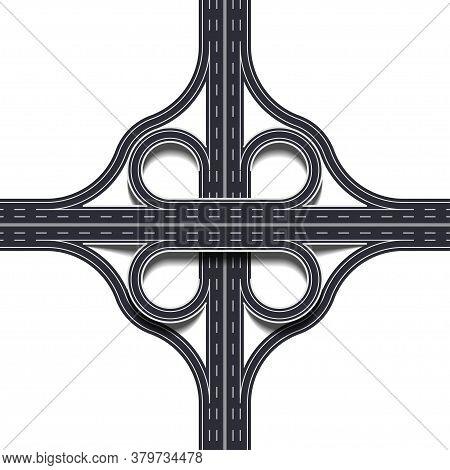 Cloverleaf Interchange Two Level, Four Way Interchange With Loop Ramps, Underpass And Overpass. Deta