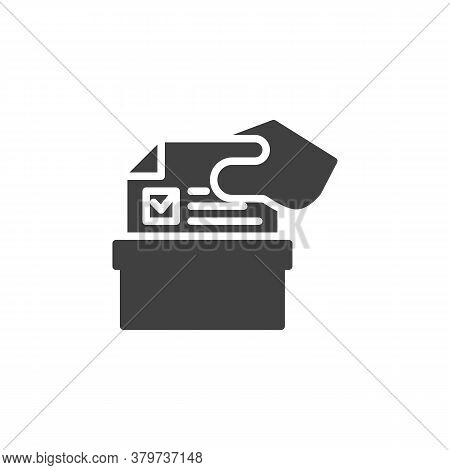 Hand Putting Voting Ballot In A Box Vector Icon. Filled Flat Sign For Mobile Concept And Web Design.