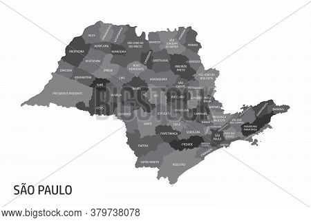 The Sao Paulo State Regions Map With Labels On White Background, Brazil