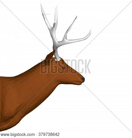 Polygonal Brown Deer Head With Large Antlers. Side View. 3d. Vector Illustration