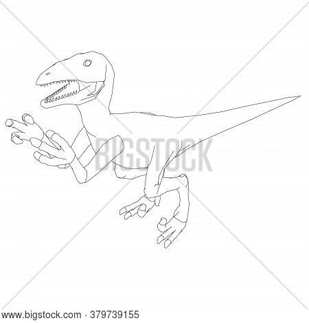 Dinosaur Contour From Black Lines On A White Background. Angry Dinosaur With Raised Paws And Sharp C